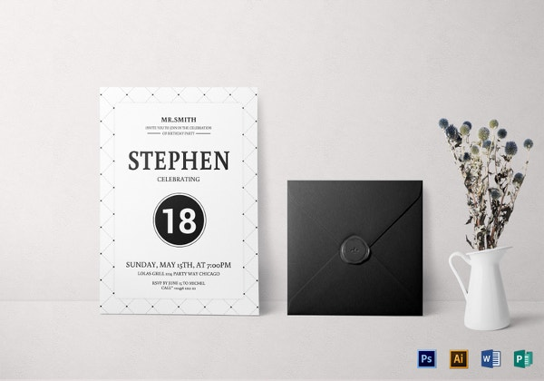 18th birthday party invitation template
