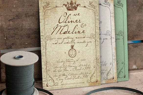 1900 paris wedding invitation card template