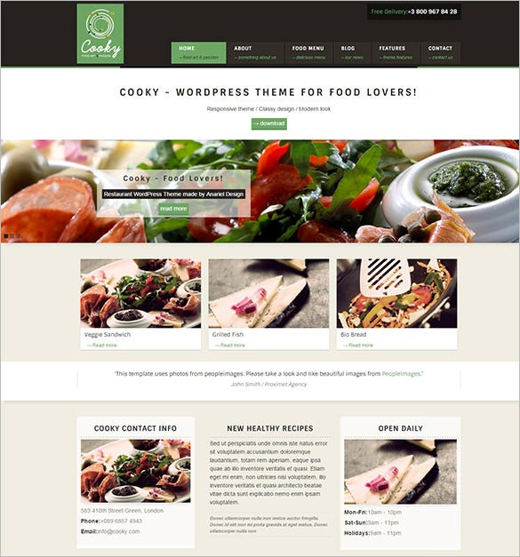 36 restaurant wordpress themes templates free premium templates. Black Bedroom Furniture Sets. Home Design Ideas