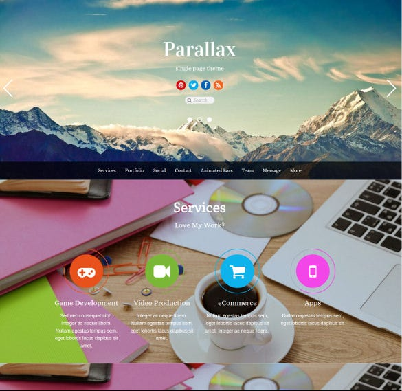 parallax scrolling wordpress theme for business