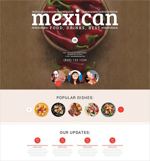 dark background fantastic sliders mexican food wordpress theme