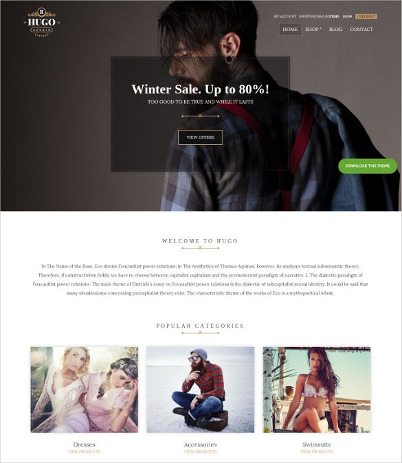 drag drop wordpress theme for ecommerce business