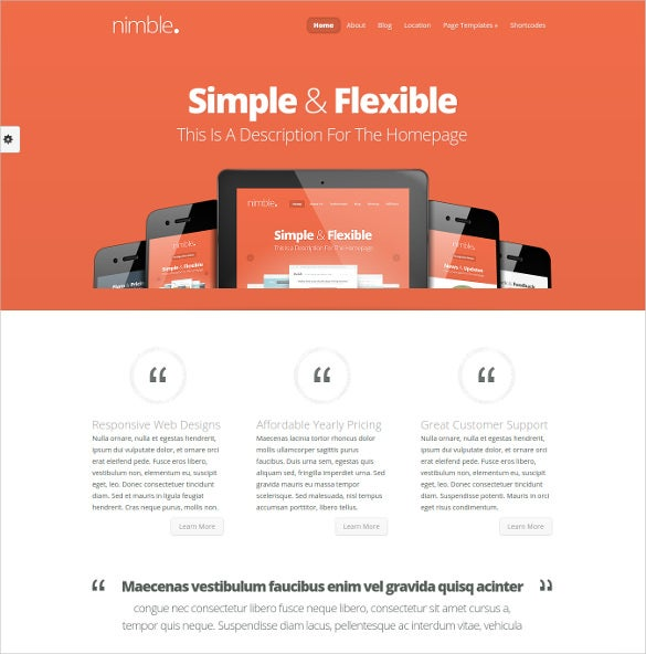 simple flexible wordpress template for business