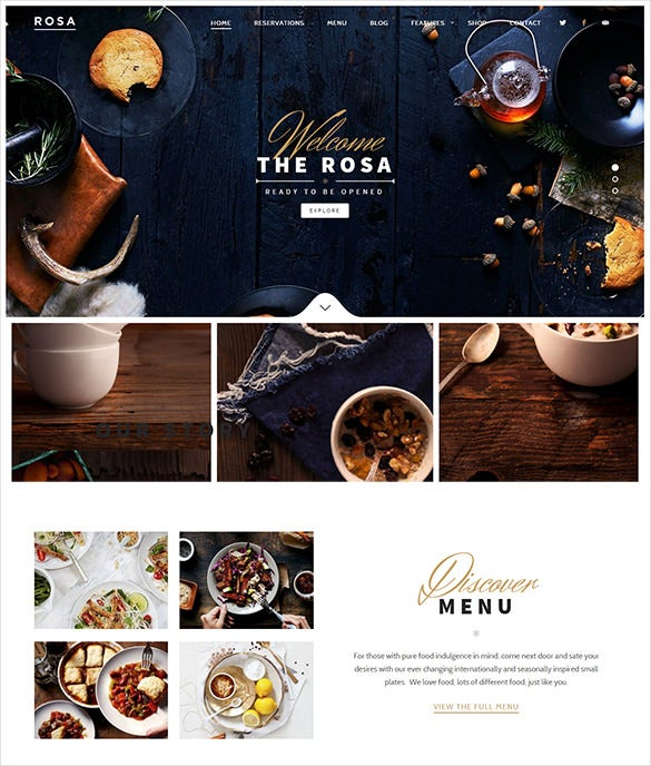 easy to use parallax exquisite restaurant wordpress theme