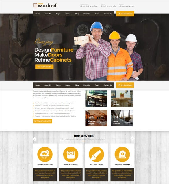 unlimited colors wp theme for carpenter business