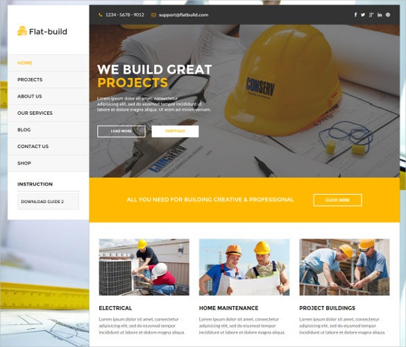 clean retina ready construction business wordpress theme