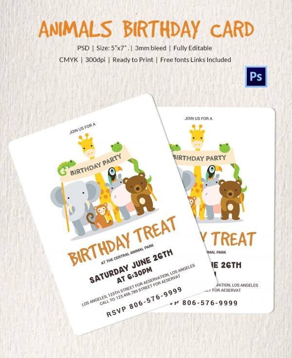 Zoo Animal Birthday Invitation Card