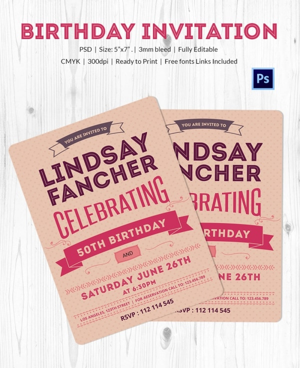Fabulous Birthday Invitation Card Template