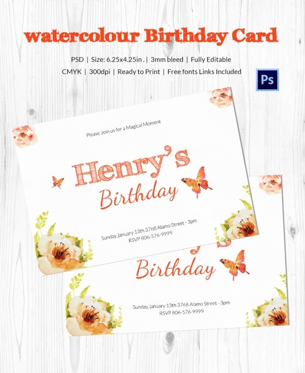 Watercolor Birthday Card Template Download
