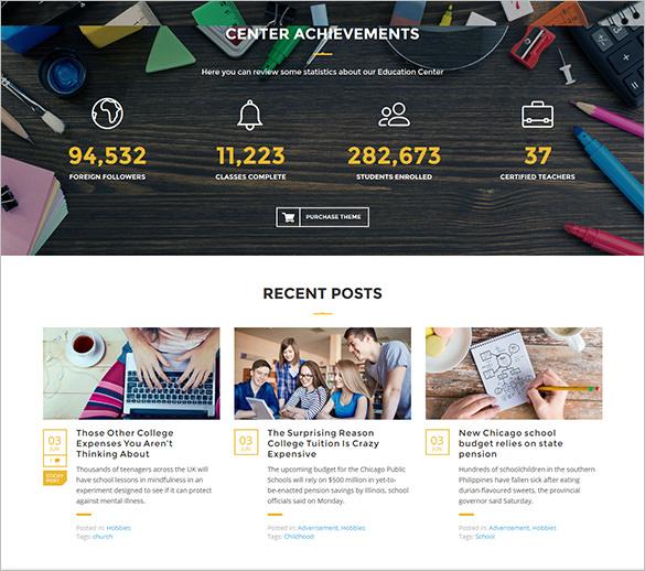 impressive fully responsive education center wordpress theme