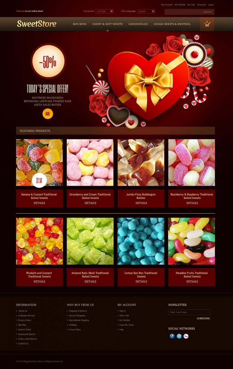 2 Columns Sweets Store Magento eCommerce Theme