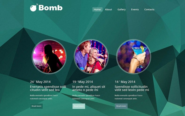 2 Columns Website Template for Night Club