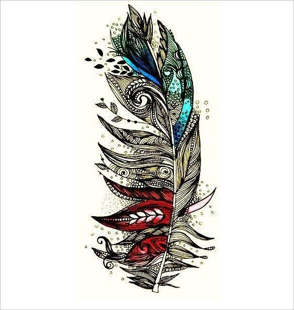 2 feather festival cool tattoo template1