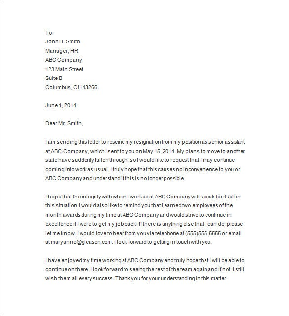 Resignation Letters 2 Weeks Notice