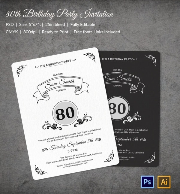 80th Birthday Party Invitation Template Download