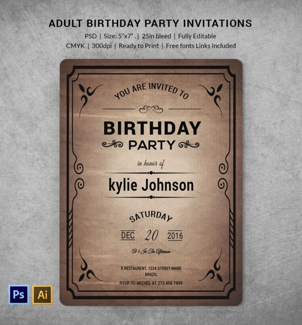 Adult Birthday Invitation Template Download