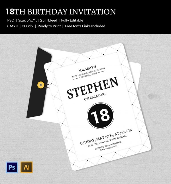 Birthday Invitation Template 32 Free Word PDF PSD AI Format – 18th Invitation Templates