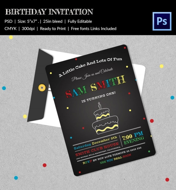 Editable First Birthday Invitation Template