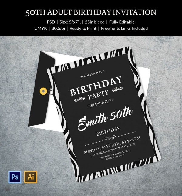 50th Adult Birthday Party Celebration Invitation Template