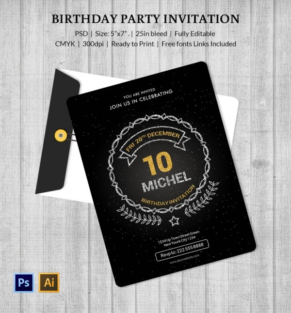 Premium Birthday Invitation Template PSD Download