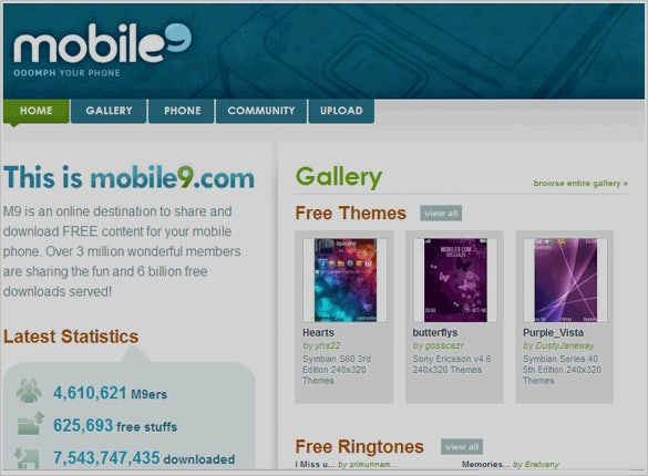 Mobile9 Website to download iPhone Ringtones