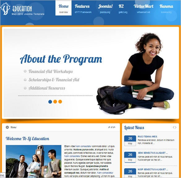 popular education website template with virtuemart k2
