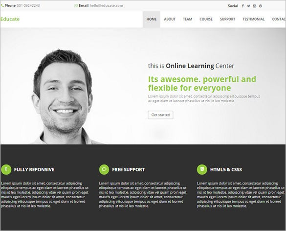 clean design one page bootstrap education website template