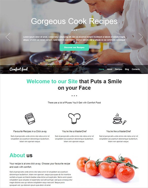 creative html5 css3 food one page website template