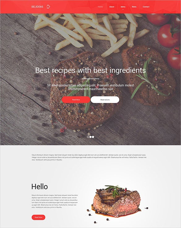 simple bootstrap cafe and restaurant website template