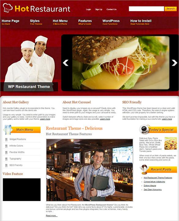 easily customizable hot restaurant wordpress theme