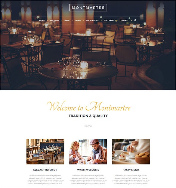 elegant custom widgets cafe restaurant wordpress theme