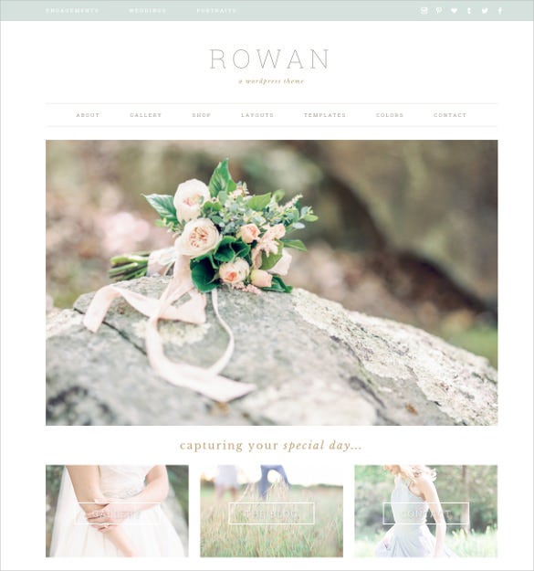 pretty photography wordpress wedsite theme