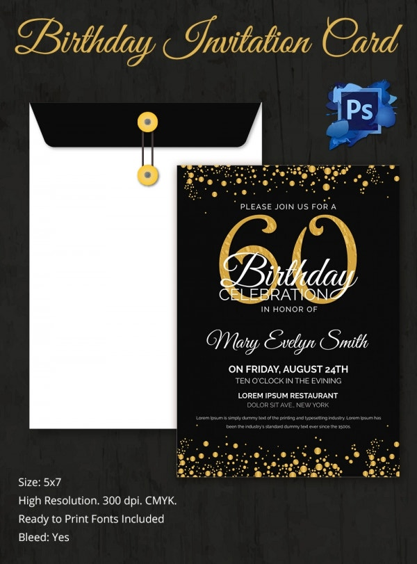 Editable 60th Birthday Invitation Template