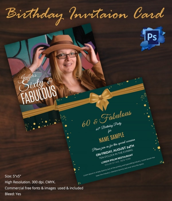 60th Birthday Invitation Card Template Download
