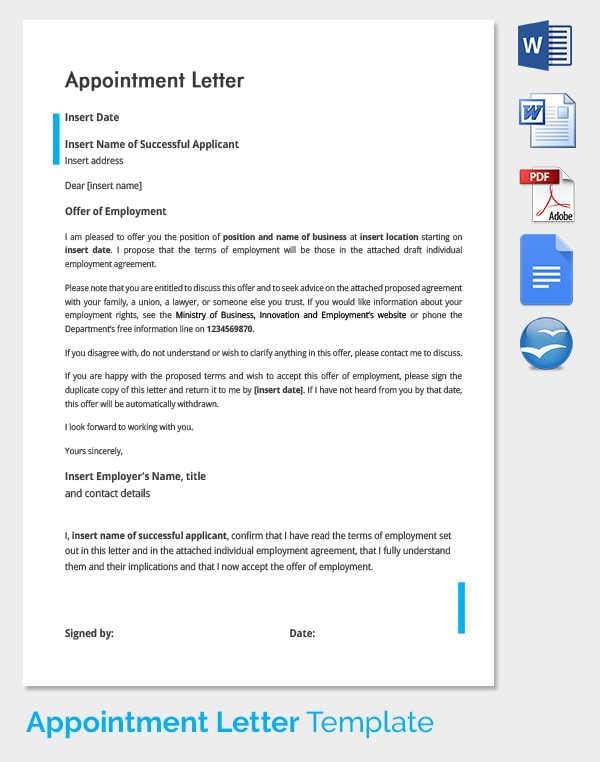Job appointment letter in word format altavistaventures Gallery