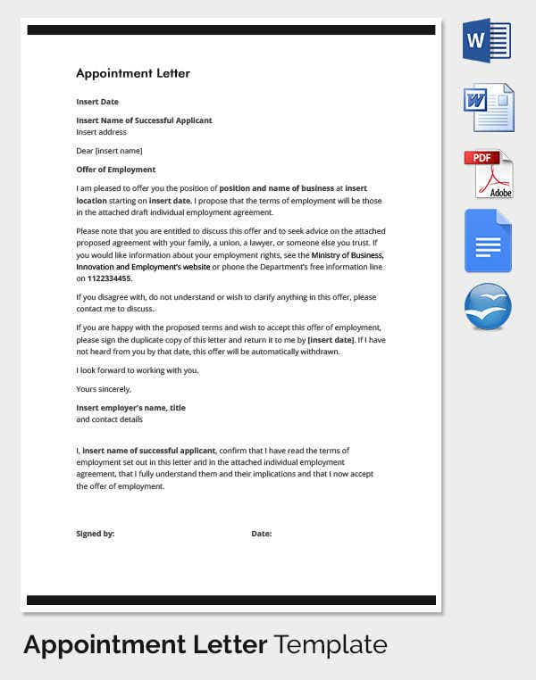 33 Appointment Letter Templates
