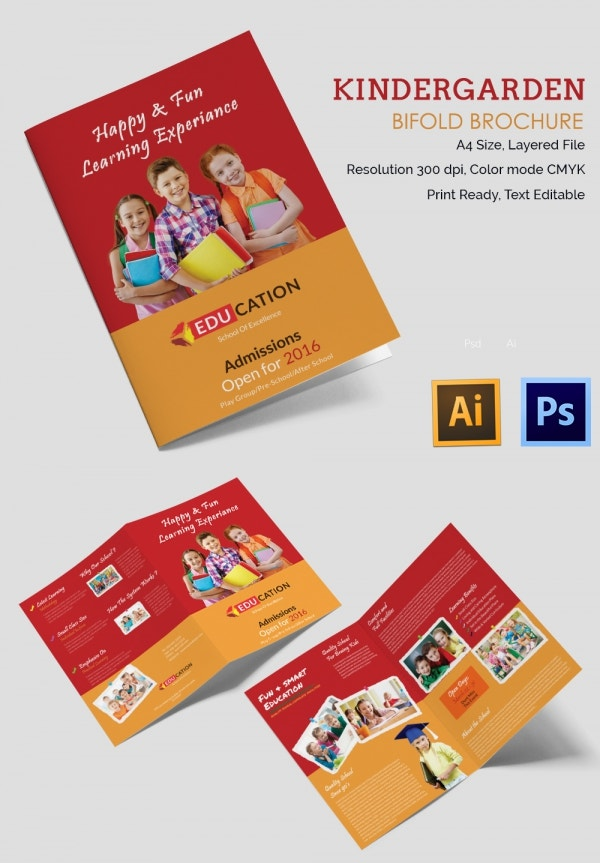 ai and psd kindergarden a4 brochure template