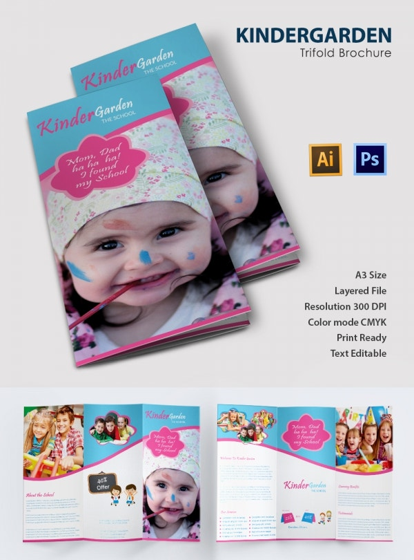 Ai and PSD Kindergarden Trifold Brochure