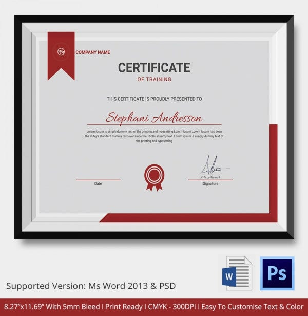 training certificate template 14 free word pdf psd format download free premium templates. Black Bedroom Furniture Sets. Home Design Ideas