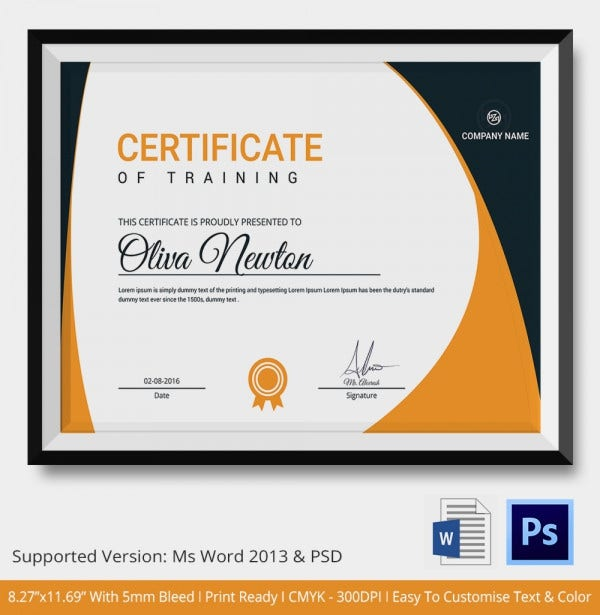 Training Certificate Template 14 Free Word PDF PSD Format – Training Certificate Template Free Download