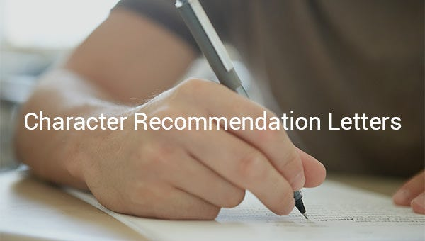 character letter of recommendation