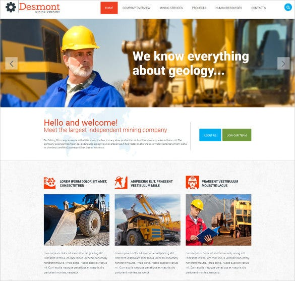 fully responsive mining company business website template