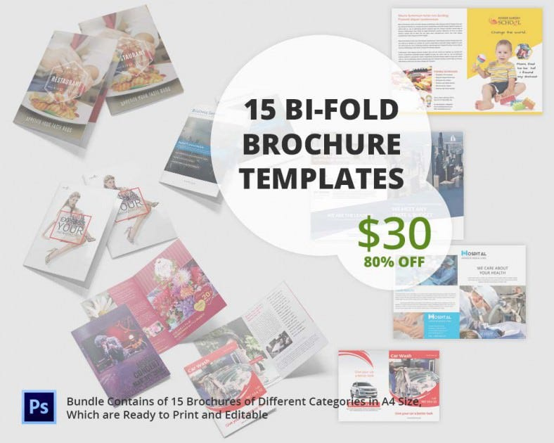 Printable bi fold brochure template 67 free word psd for Bi fold brochure template indesign free
