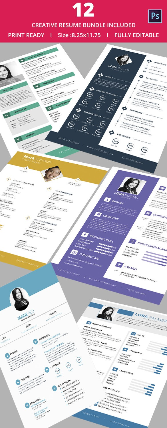 12 creative resume bundle only for 25 - Creative Resumes Templates Free