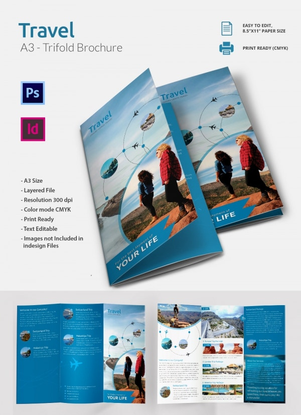 PSD and Ai Travel Tri Folding Brochure