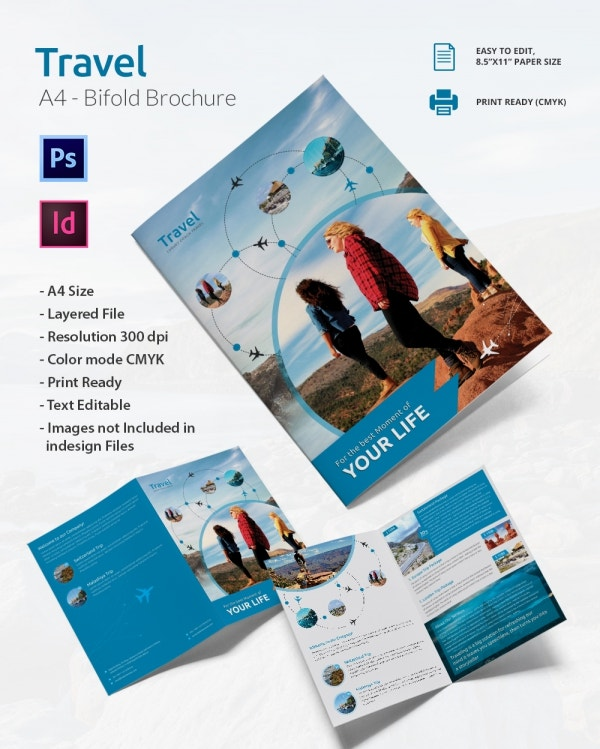 43 travel brochure templates free sample example for Bi fold brochure template illustrator