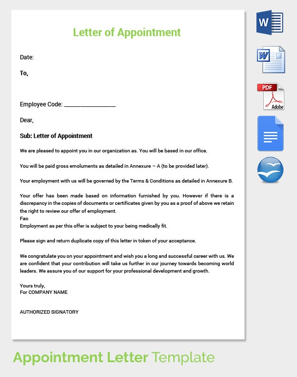 25 Appointment Letter Templates Free Sample Example