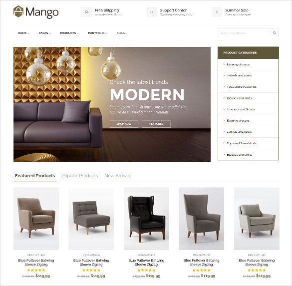 professional furniture ecommerce html5 website template