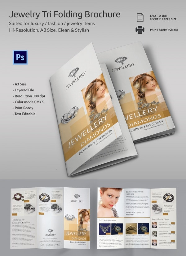 21 jewelry brochure templates free psd eps ai for Folding brochure template