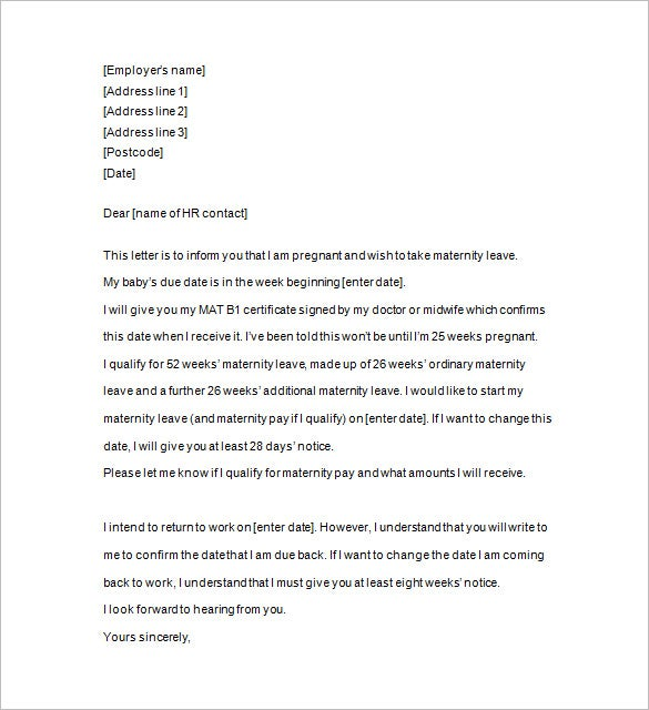 28 days notice letter free download
